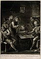 Two men playing backgammon on a barrel-table as others watch Wellcome V0019058.jpg