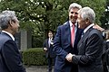 U.S. Secretary of Defense Chuck Hagel, right, greets U.S. Secretary of State John Kerry at the Chidori-Ga-Fuchi National Cemetery in Tokyo Oct. 3, 2013 131003-D-BW835-1491.jpg