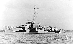 USS Decker (DE-47) off the Boston Naval Shipyard on 30 August 1944 (19-N-10567)