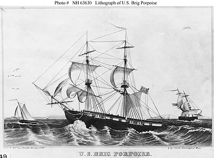 USS Porpoise, a brig ship laid down in 1835 and launched in May 1836; used in the U.S. Exploring Expedition USS Porpoise (1836).jpg