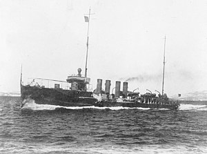 USS Tucker (DD-57), underway while running trials, circa 19 March 1916. Note the ice accumulated amidships.