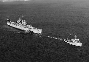 USS Vincennes (CL-64) - Vincennes under tow to be sunk as a target ship, in October 1969.