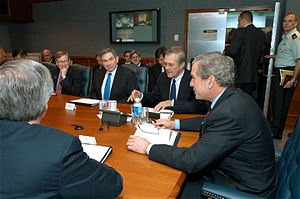 Stephen Hadley - Hadley (far left) along with Wolfowitz, Rumsfeld, and President Bush at a Pentagon meeting in March 2003