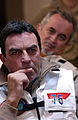US Navy 040722-N-8148A-069 Actor Tom Selleck listens to a safety briefing conducted by Cmdr. Carl Garbelotti, Safety Officer, prior to observing flight operations aboard USS Ronald Reagan (CVN 76).jpg