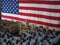 US Navy 041011-N-7185S-091 Chief of Naval Operations Adm. Vern Clark, addresses the crew of the amphibious assault ship USS Essex (LHD 2).jpg