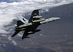US Navy 041111-N-3799S-003 An F-A-18C Hornet assigned to the Marauders of Strike Fighter Squadron Eight Two (VFA-82), flies over the Pohakuloa Training Area on Hawaii Island, Hawaii.jpg