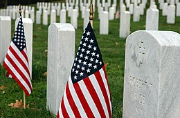 US Navy 041112-N-0295M-001 American flags decorate the headstones of service members at the Quantico National Cemetery in Triangle, Va., on Veteran's Day.jpg