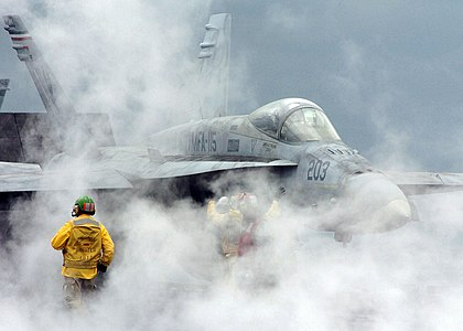 F-A-18 Hornet readied to be catapulted into the air