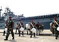 US Navy 050708-N-0493B-003 The Malaysian Armed Forces band marches during a pier side welcome for the amphibious assault ship USS Boxer (LHD 4) to Kememan, Malaysia.jpg