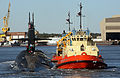 US Navy 090109-N-1841C-028 The ballistic-missile submarine USS Rhode Island (SSBN 740) is escorted by tug boats to her berth at Naval Submarine Base Kings Bay, Ga.jpg
