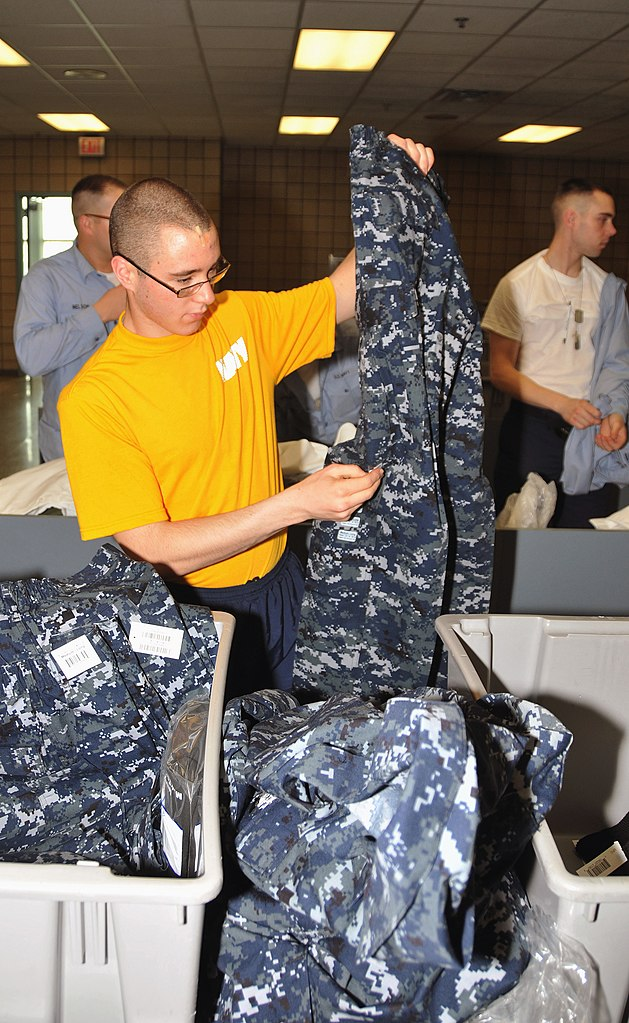 ... his newly issued navy working uniform at Recruit Training Command.jpg