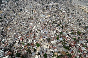 Environmental issues in Haiti - A dense slum in the capital Port-au-Prince.