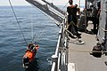 US Navy 110520-N-SP676-120 Sailors aboard the mine countermeasures ship USS Avenger (MCM 1) lower a mine neutralization vehicle into the water.jpg