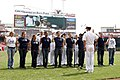 US Navy 110901-N-OU685-108 Cmdr. Michael Hudson, commanding officer of Navy Recruiting District Ohio, swears in new Sailors during an enlistment ce.jpg