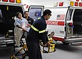US Navy 111117-N-KR503-059 Paramedics deliver a simulated casualty to Naval Medical Center San Diego (NMCSD) during a command-wide mass casualty dr.jpg
