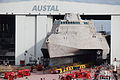 US Navy 120109-O-ZZ999-002 The littoral combat ship Pre-Commissioning Unit (PCU) Coronado (LCS 4) is rolled-out at the Austal USA assembly bay.jpg