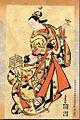 Ukiyoe calendar Nov.2010 seibai -- kotori o te ni noseru juujo tori kago o motsu.jpg
