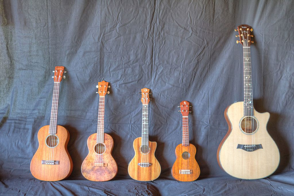 Sizes of Ukuleles compared to a Guitar - Baritone | Tenor | Concert | Soprano | Guitar
