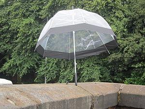 "Arnold Fulton - A ""birdcage"" transparent umbrella."