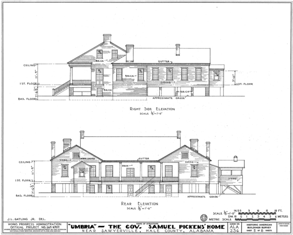File umbria plantation architectural drawing of west and for Full size architectural drawings