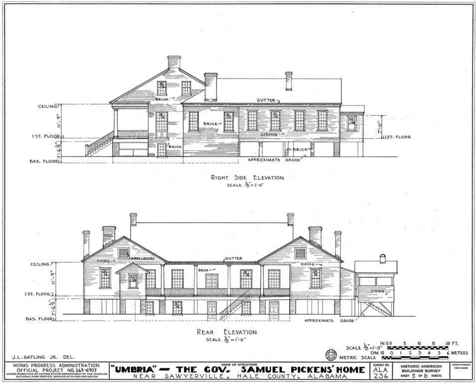 File umbria plantation architectural drawing of west and for Architectural drawings for houses