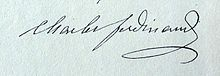 Undated signature of Charles Ferdinand d'Artois, Duke of Berry.JPG