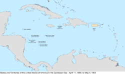 Map of the United States in the Caribbean Sea from April 11, 1899, to May 4, 1904