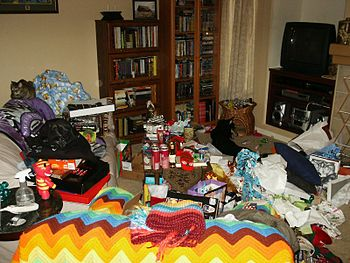 The aftermath of the annual gift-unwrapping fr...