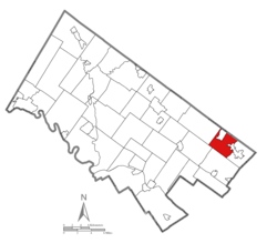 Location of Upper Moreland Township in Montgomery County