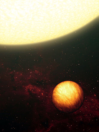 Upsilon Andromedae b - An artist's impression of Upsilon Andromedae b and its star.