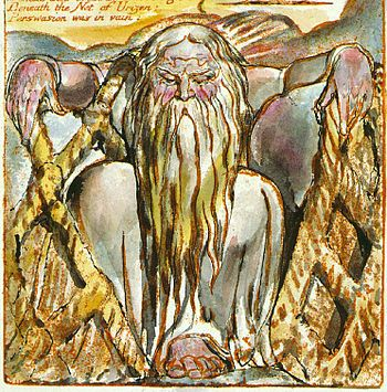 Urizen with his net - The Book of Urizen, copy G, object 27 c1818 (Library of Congress) Detail.jpg