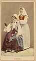 Världsutställningen i Paris 1867. Två kvinnor i folkdräkter från Blekinge - Nordiska Museet - NMA.0039850.jpg