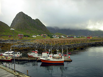 Værøy - View of the village of Værøy