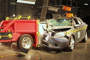 Crash test - Passenger-side oblique crash test of a 2015 Chevrolet Malibu.