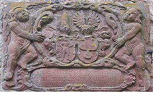 Brennhausen - Coat of arms in courtyard of Hans Günther von Brennhausen and his second wife, Felicitas Agnes Leschin von Mülheim