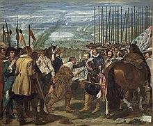 Giustino di Nassau semi inginocchiato che porge le chiavi della fortezza di Breda ad Ambrogio Spinola, Diego Velázquez, 1634-1635