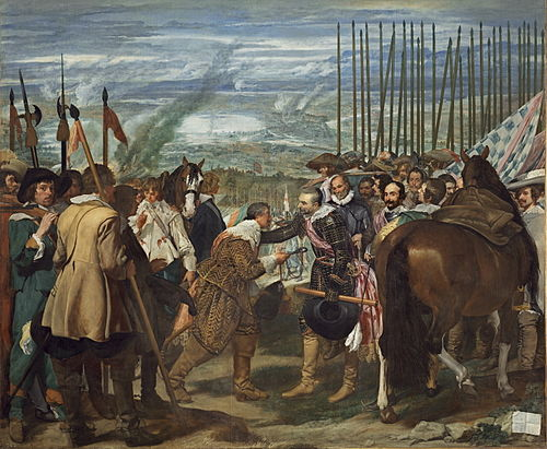 The Surrender of Breda (1625) to Ambrogio Spinola, by Velazquez. This victory came to symbolize the renewed period of Spanish military vigor in the Thirty Years' War. Velazquez - de Breda o Las Lanzas (Museo del Prado, 1634-35).jpg