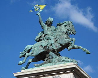 ASM Clermont Auvergne - Statue of Vercingetorix decorated with the flag of ASM Clermont Auvergne after the Top 14 championship of 2010.