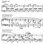 Zitat des Themas aus Clara Wiecks op. 3 in Clara Wiecks op. 20 und Johannes Brahms' op. 9 (Quelle: Wikimedia)