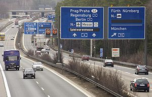 Variable-message sign - Europe's largest Dynamic Route Guidance System Nuremberg, Germany