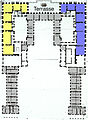 Versailles - plan of premier étage of Enveloppe - Berger 1985 Fig12 (King's apartment in blue, Queen's apartment in yellow).jpg