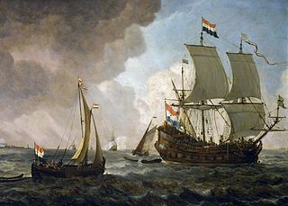A Dutch men-of-war and small vessels in a breeze (detail).