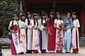 Vietnamese student girls in Temple of Literature.JPG