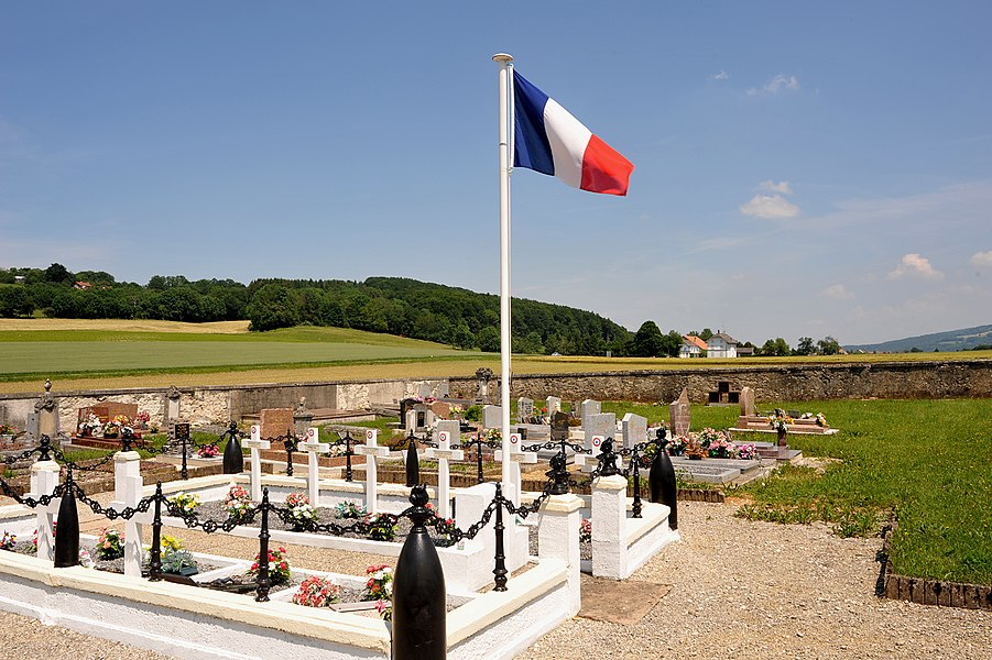 Cemetery of Villars-lès-Blamont, view to the French-Swiss border and the customs of Les Bornes; Doubs, France. The second route for Michel Hollard to cross the border secretly with the help of Émile and Geneviève Mathiot - between Blamont and Damvant.