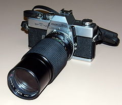 Vintage Minolta SR-T 101 35mm SLR Film Camera (Made In Japan) With A Super Albinar MC Auto Zoom f-4.5 80 - 205mm Lens (Made In Korea), Circa 1970s (19494776722).jpg
