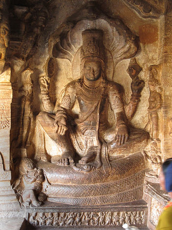Vishnu seated on Ananda. Cave3Badami.jpg