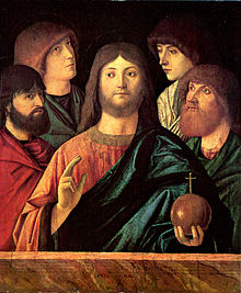 Redentore benedicente tra quattro apostoli