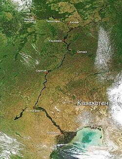 A Volga, és torkolata a Kaszpi-tengernél