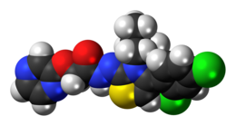 Space-filling model of the WAY-208,466 molecule