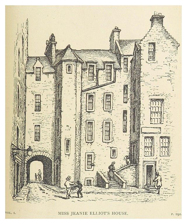Old Town d'Edimbourg : Miss Jeanie Elliot's House - Dessin de Wilson (1878)
